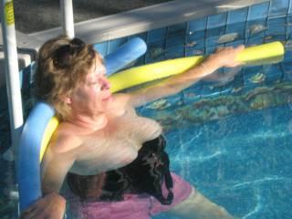 Sunning in pool