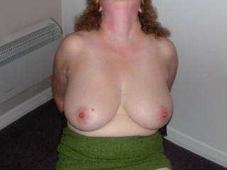 bound and blind folded,just waiting to suck on those gorgeous breasts!