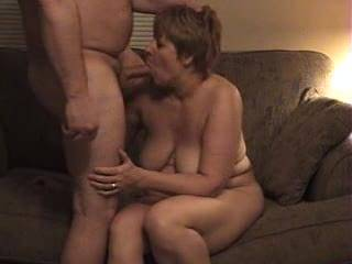 Wife sucking my cock then getting fucked on couch