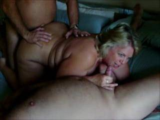 PART 1 Mrs Daytonohfun sucking on Mr Daytonohfun as she gets fucked by another guy.  She had gotten fucked and filled by Sportluvr.