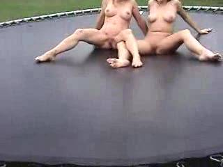 Here\'s more from the nudist swingers weekend with Carol and Marie on the trampoline. Geeze, what a great time that was.