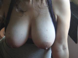 Hun, I would love to lick and nibble them , pulling yr gorgoeus nipples then slip my hard cock betwen them and tit fuck as u watch and play with yr pussy... That would be a start... so hot!!
