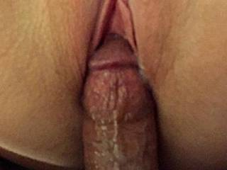 Pulling out after leaving a creampie for the wife!! How many other guys would love to have a pic taken with her like this?