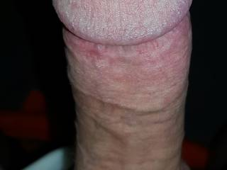 Hubby's cockhead gets so big and hard , I often have trouble taking him inside me... but once I do it feels amazing!  Anyone want to lick up that drop of his precum? 💋