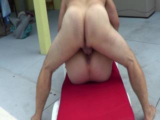 2nd part of wife getting tucked on pool deck with a great cum shot and wide open pussy shot