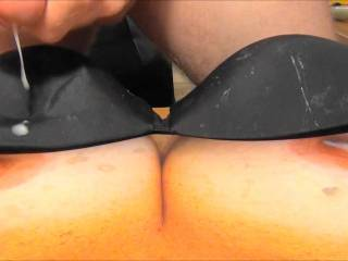 Shooting my 6th cumload on Sweet T\'s tasty tits and my GF\'s black bra! Her reward for sending me cock tribute pics!
