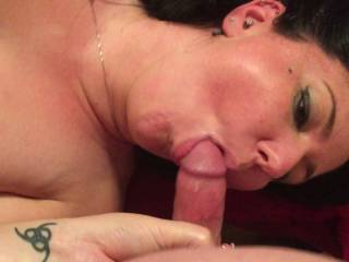 I love sucking his cock and getting dildoed its as close to a 3 some I get