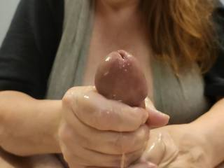 Mmm... Now for me to lick up all of that wonderful cum. Want me to help out your cock? How about you ladies enjoying some of this great cock and cum?