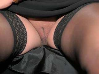 During dinner, my coworker took this picture under the table of me going commando.  He did this to ensure I didn\'t put on a pantie after showing him my pussy in the other picture