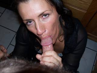 Mmmm, I love that look on her beautiful face and how she has the tip of your cock wrapped with her lips!!