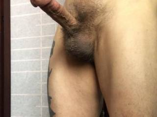 My erect penis and swollen testicles