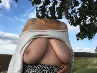 New - made yesterday. Big tits of my friend, with her white top loose and falling down - shame she did not take it off altogether :(