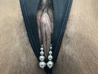 Wife wearing crotchless panties with clit clamp jewelry off Etsy.