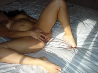 Hotwife touching herself.