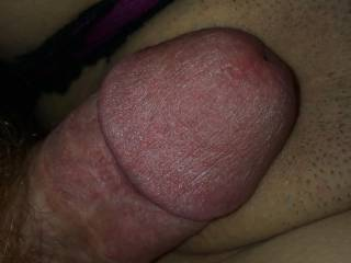 He toys my waiting pussy with his cock!