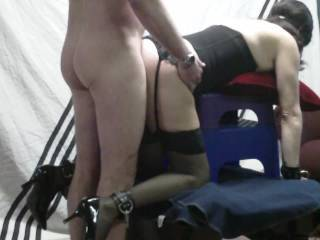 Doing my 3 favorite things with my wife in 1 video.. Could she still be a bondage model at 55??