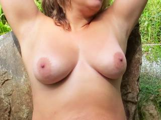 I'd love to suck on those perfect nipples... hold them firmly in my hands... nuzzle them... and if you let me, rub my hard cock between them as well.
