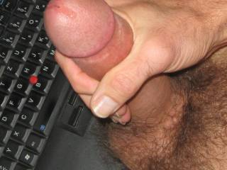 it is not only women that get wet when turned on  pre-cum is magic as it spreads over a cock head
