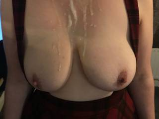 Big juicy load all over my tits. Room for more?