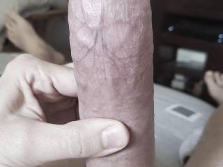 Nine inches of steel hard cock, ready to be ridden as long as you like.