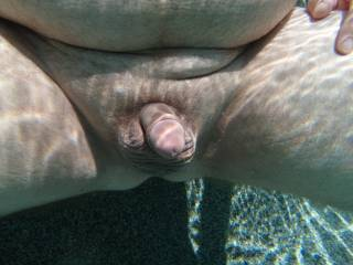 An underwater dick pic while swimming nude in my pool.