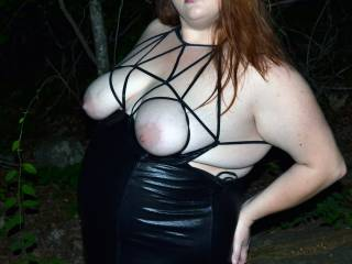 Wife posing outdoors in her leather outfit :)