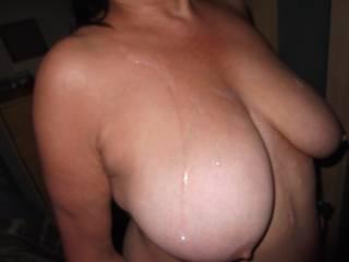 Cum covered tits.