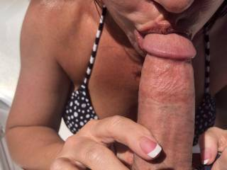 I love sucking my hubbies cock! His precum  was dripping before I took the first lick and it tasted sooo good..... had me so wet!!!