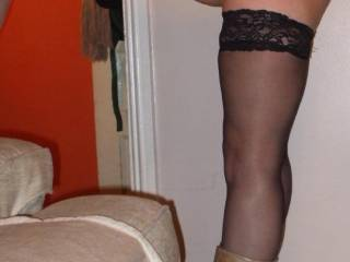 naked, apart from my boots and stockings.....