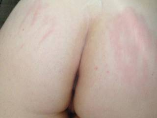 I just finished rubbing my cock between those sexy white ass cheeks and playing with her pussy and spanking that arse until I cum all over her!  Want more?? Please give is requests!!