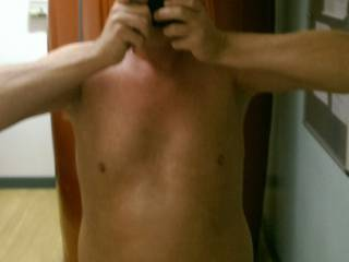 Quick snap in mirror, after sun bed. .