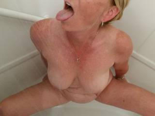 I'd love to join you in the shower and give you a taste of my cock and cum in exchange for a taste of your wet pussy.