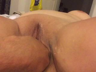 Fingering her wet pussy, wanna lick it?