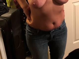 wife with her tits out