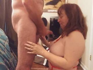 Unloading on those great tits of my wife. She loves hot cum. Watch our videos for the wife\'s fantastic blow job.