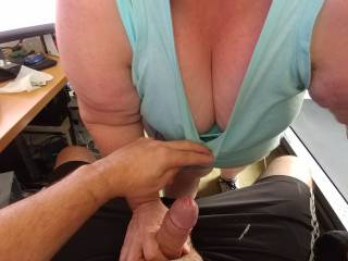 A little morning hand job before I get working. I just cant get enough of that cleavage!!