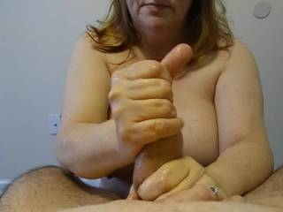 I love cum all over my tits! One way I get what I need is massaging Hubby's hard, thick cock. Of course, I will tease that head with my fingers as he moans and groans.