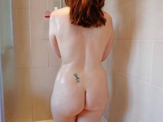 Wife taking a shower after a visit from her bbc bull.