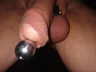 Plugging my cock with my 14mm dilator..love the feel of the stretch.