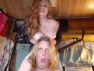 Red balancing her beautiful big ass titties on my head ...
