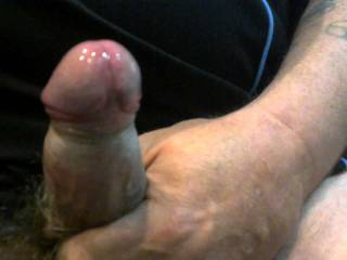 cock hard and leaking for her wet hairy pussy