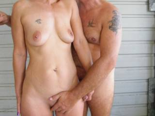 such a sexy and loving pose, your hand wrapped round his lovely circumcised cock and his hand gently massaging your hard clit...