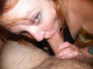 She is awesome showing off her more than amazing sucking talents looking up with those sexy eyes with her sensuous lips wrapped around big cock...wow just incredible!  Love to cum experience her mind blowing skill...and of course return the favor as well...!