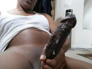 I love sucking a cock like that clean. Oh yes I do.  That cock looks so fucking delicious.  I'd hope I could swallow it....all of it.  If I can't with my mouth I know I can with my pussy.  I bet it will feel REAL good in me.  MILF K
