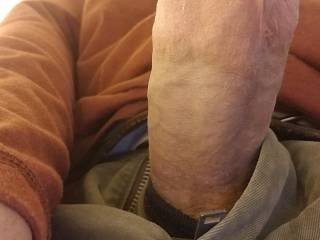 Just showing off the big throbbing cock. Who wants there mouth filled with this long fat cock ?