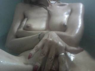 My nipples so hard and sensitive and my pussy on fire ! So wet and horny in my bath ! Would you fill me like that ?
