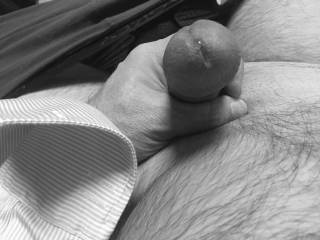 Sitting in my office precum leaking out as naughty thoughts of you run through my mind 😈