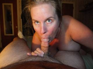 Hubby was away on business and had to call our friend over for some fun. He wanted to send some pics over to my hubby to show him how much fun we were having. I love having an open relationship with my husband. Hubby loved this pic.