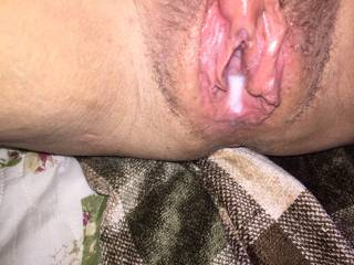Hubby's cum running out. Want him cum in you?