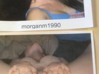 My tribute to beautiful and sexy morganm1990!  I couldn't decide wither to give you a facial or a creampie so I had both pictures up and went for the creampie!